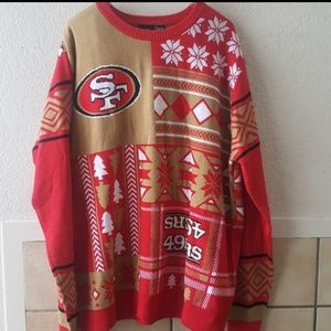 NFL 49ers holiday color block sweater 2XL
